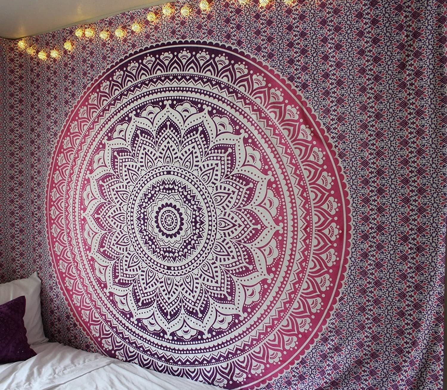 """Large """"Pink Ombre Tapestry"""" Pink Mandala Tapestry, Queen Ombre Bedding Psychedelic Indian Mandala Big Hippie Wall Hanging Bohemian Bedspread Dorm Decor Beach Throw by RSG Venture"""