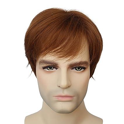 Alta calidad natural corto recto peluca de pelo luz marrón para hombre para mujer resistente al