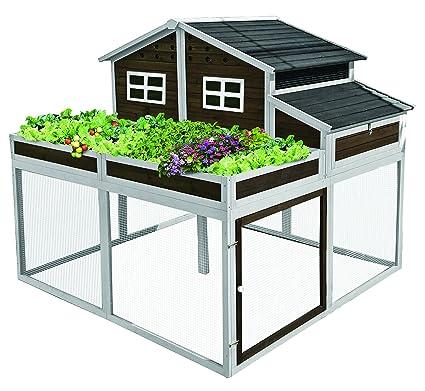 SummerHawk Ranch Trio Garden Chicken Coop   X Large Wooden Hen House With  Built In