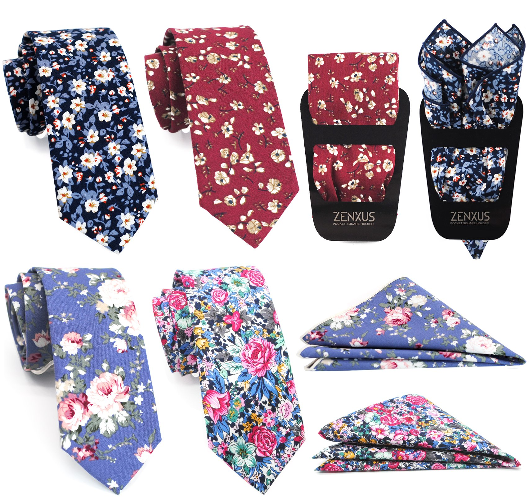 Mens Cotton Skinny Floral Tie Combo Set with Pocket Square 4-pack TC049 by ZENXUS