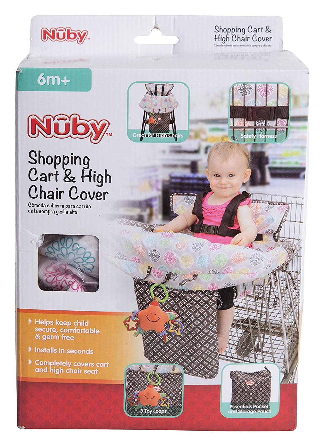 Amazon.com : Nuby Baby Shopping Cart Cover and High Chair Cover 2 in 1, Flower Medallion, High Chair Cushion, Baby Grocery Cart Cover, Infant High Chair ...