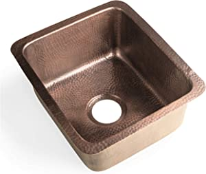 Monarch Abode 17090 Pure Copper Hand Hammered Highball Bar Prep/Kitchen Sink (17 inches)