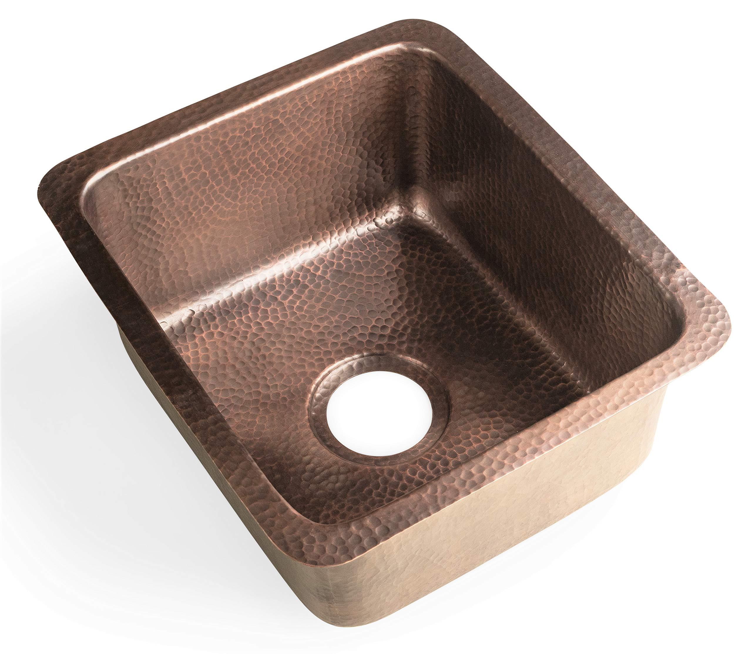 Monarch Abode 17090 Pure Copper Hand Hammered Highball Bar Prep/Kitchen Sink (17 inches) by Monarch Abode