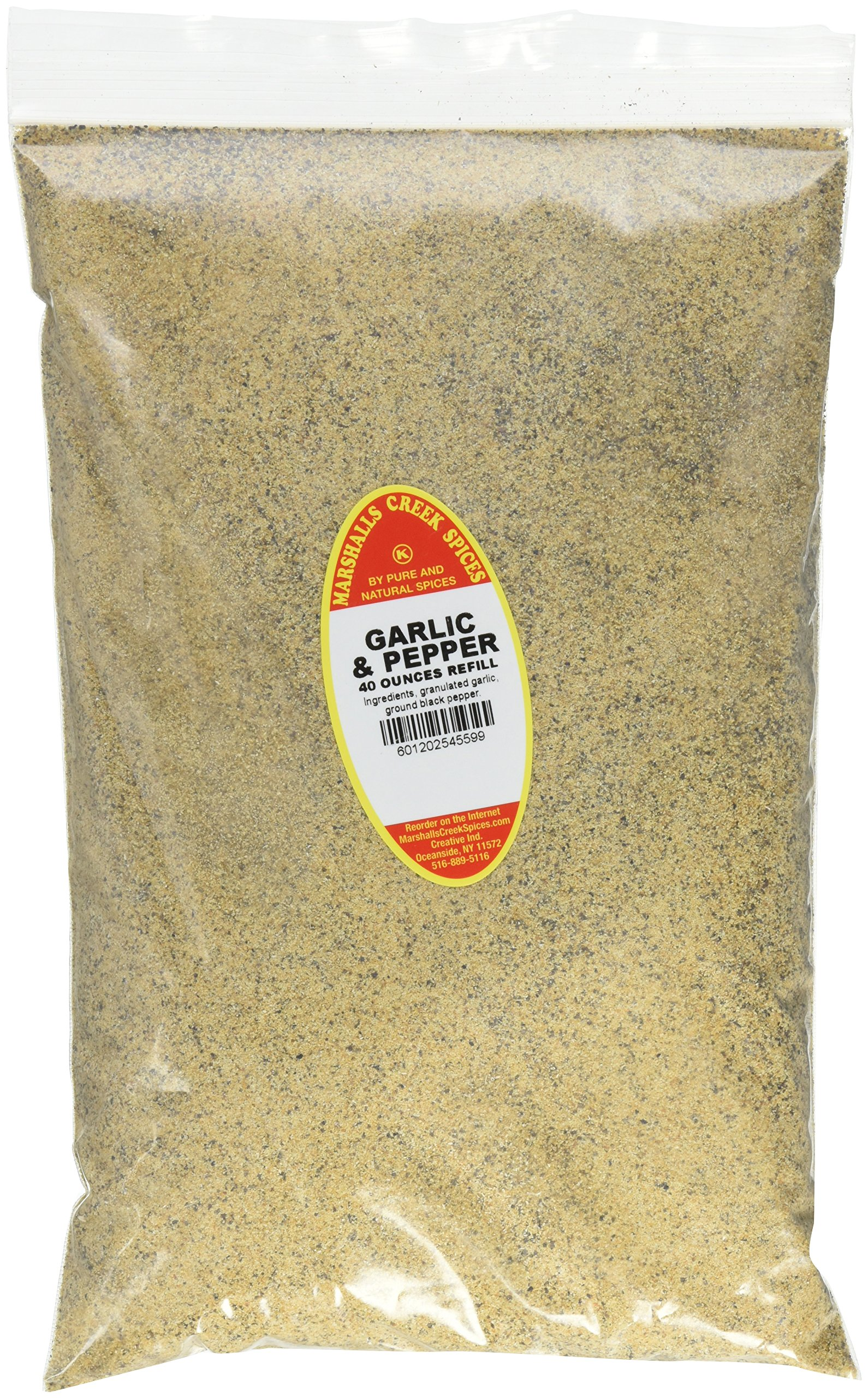 Marshalls Creek Spices Family Size Kosher Garlic and Pepper Seasoning Refill, 40 Ounce