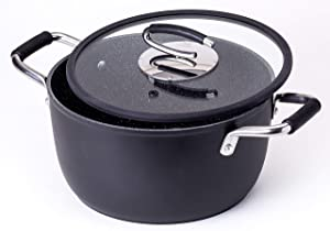 Vesuvio 5 Quart Nonstick Dutch Oven :: Nontoxic Ceramic Coated Stock Pot with Oven Safe Glass Lid