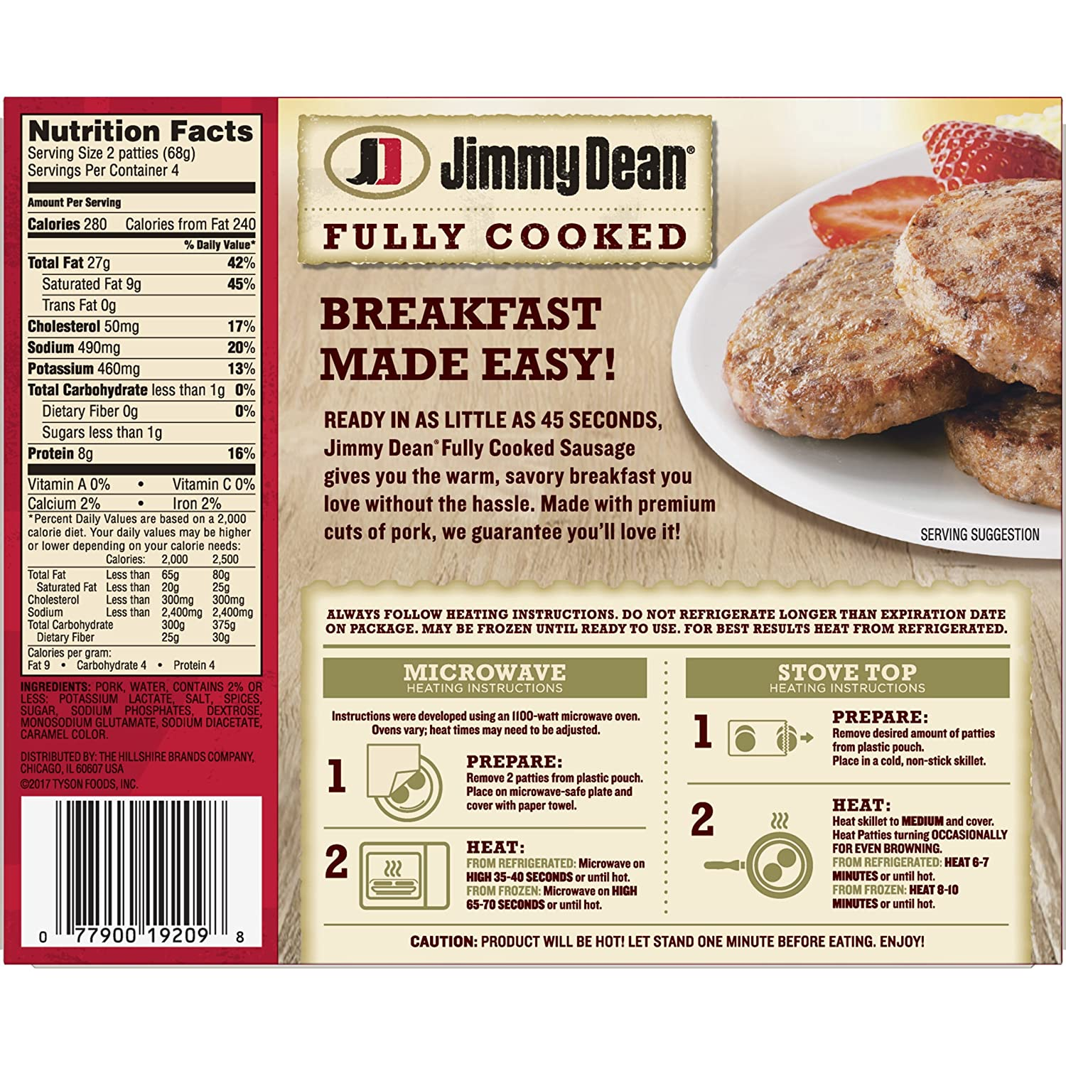 Jimmy Dean, Fully Cooked Sausage Patties, 8 Count