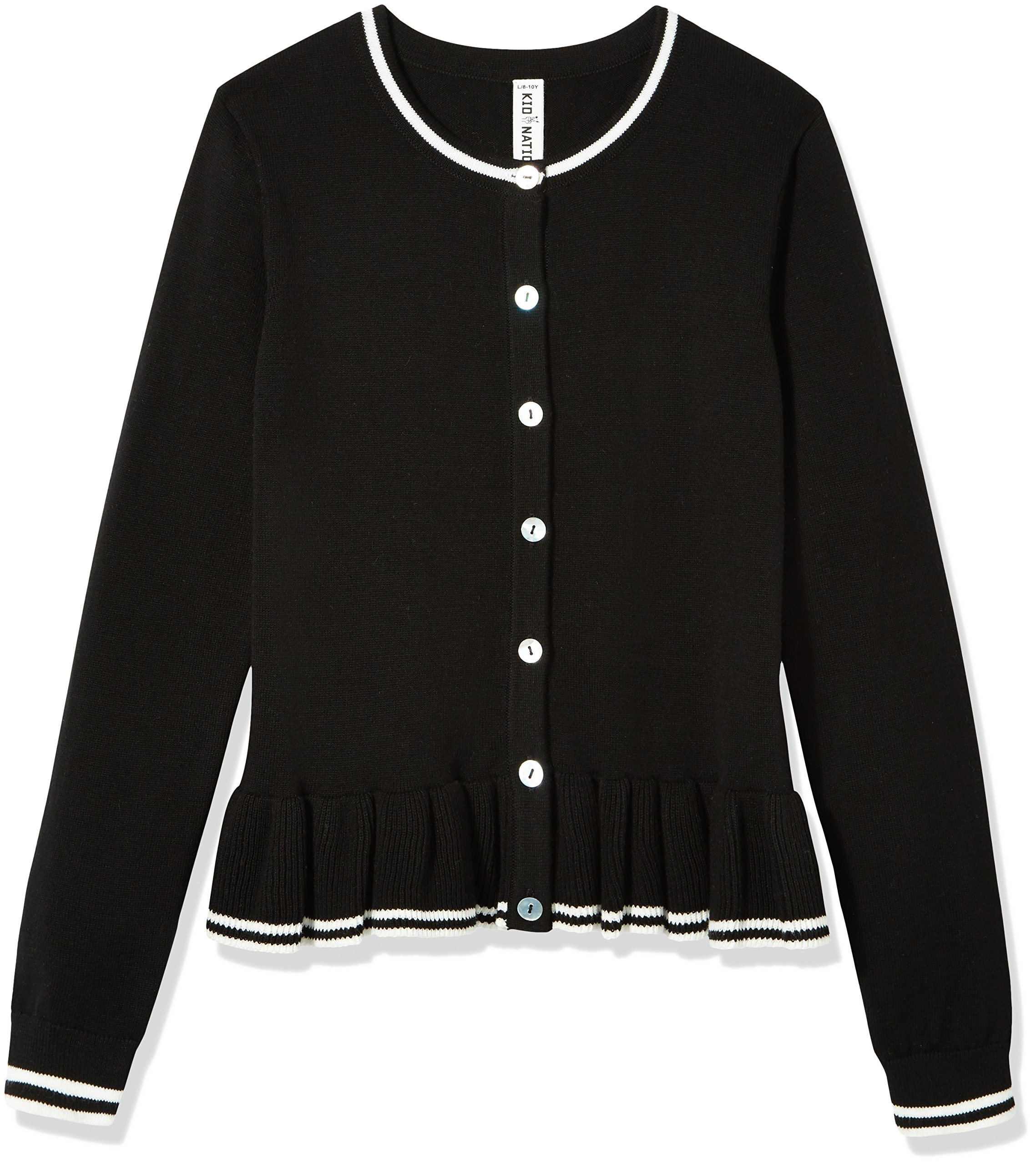Kid Nation Girls' Long Sleeve Ruffles Cardigan Sweater Size M Black