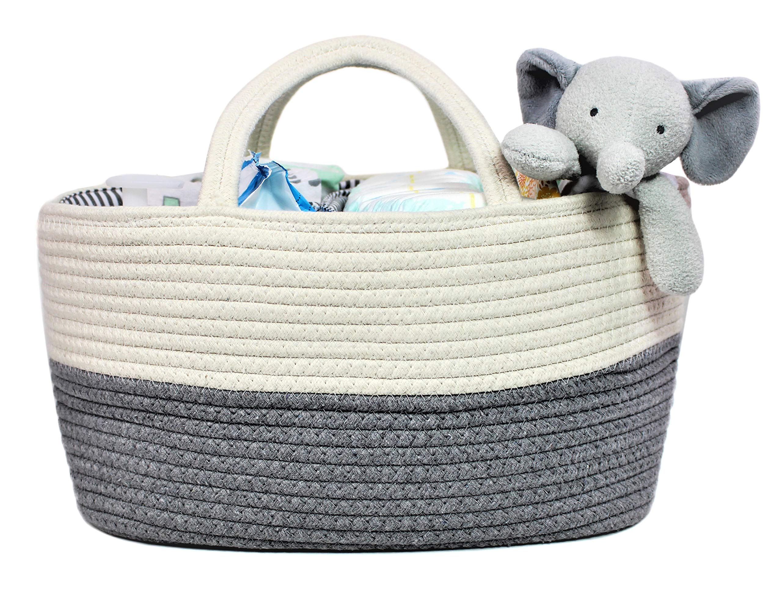 Summit One Baby Extra Large Diaper Caddy Organizer Basket (17 x 10 x 8 Inches) Spacious and Sturdy Woven Cotton Rope Diaper Storage with Handles - Includes Diaper Changing Pad | White Gray