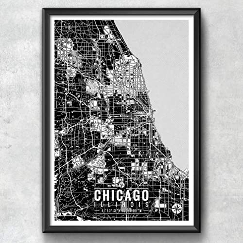 Amazon.com: Chicago Map with Coordinates, Chicago Map, Map Art