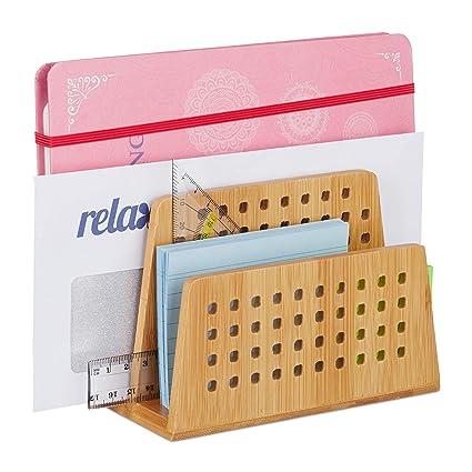 Relaxdays - Soporte de documentos bambú, 2 compartimentos ...