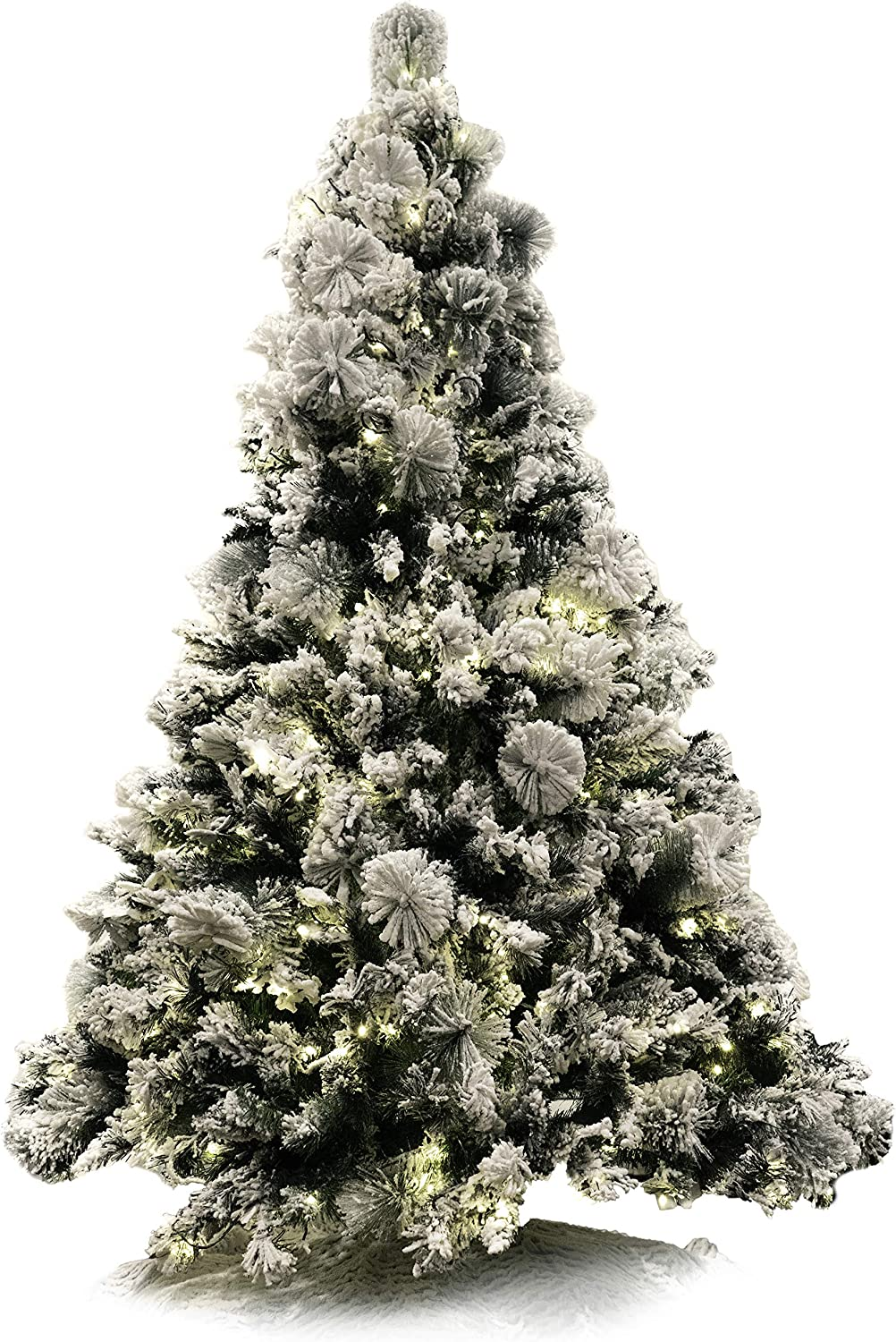 Red Co. 6 Foot Premium - Flocked Snowy Artificial Christmas Tree - 500 UL Warm White LED Lights with Metal Stand