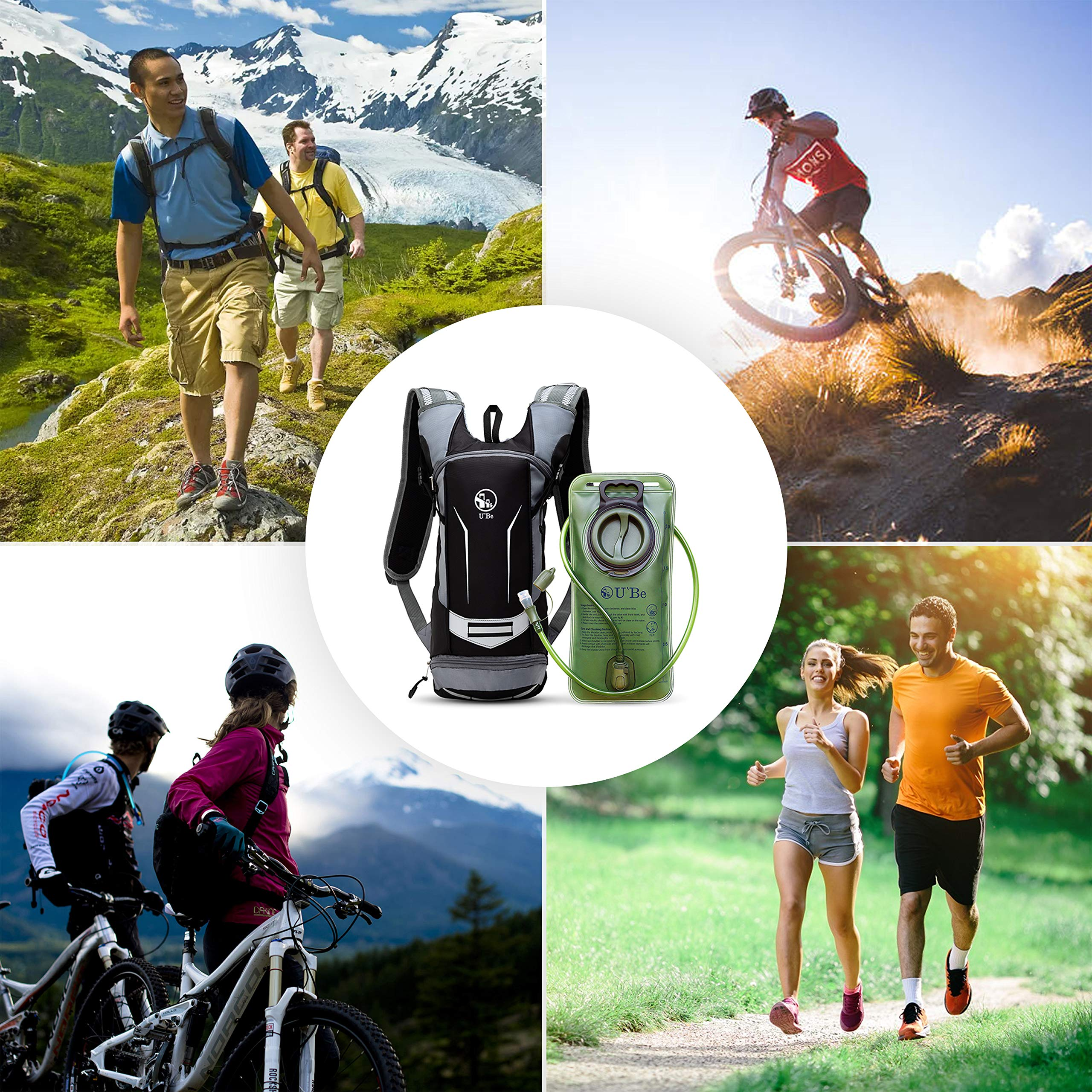 U`Be Hydration Pack - Hydration Backpack - Camel Pack Water Backpack with Insulated 2l Bladder for Women Men Kids Backpacking - Small Lightweight Water Reservoir for Running Hiking Cycling by U`Be (Image #7)