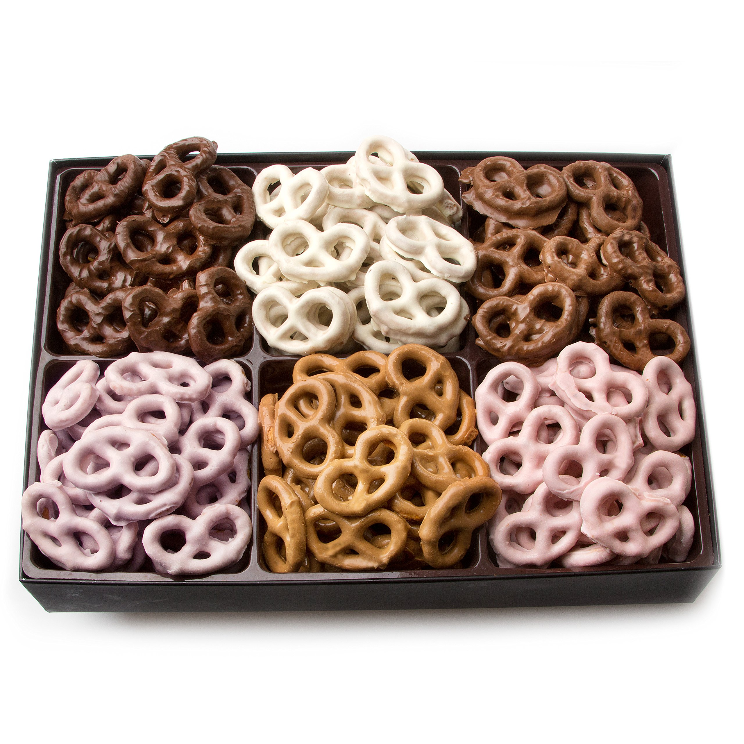 Oh! Nuts Chocolate Covered Pretzels Gift Basket, 6 Variety Assorted Flavored Set of Yogurt, Milk & Dark Gift Box, Send for Christmas Holiday Valentine's or Mother's Day a Sweet Treat for Men & Women by Oh! Nuts® (Image #3)