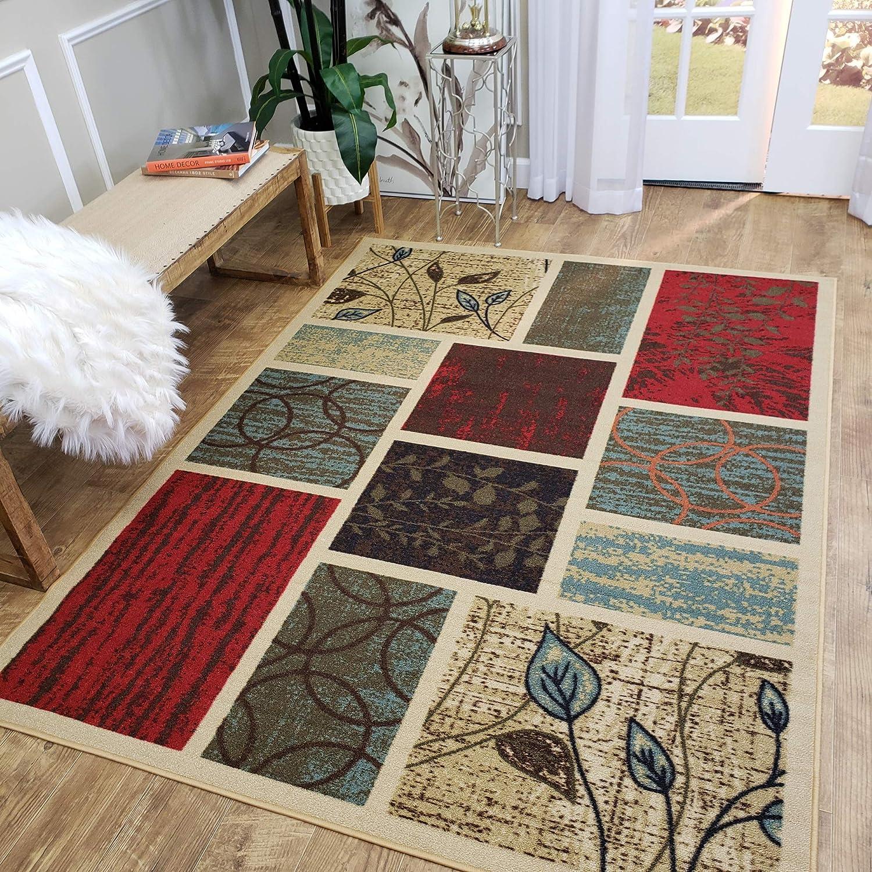 Indoor Doormat Rubber Backed, 18 x 30 inch, Beige Geometric, Non Slip, Kitchen Rugs and Mats