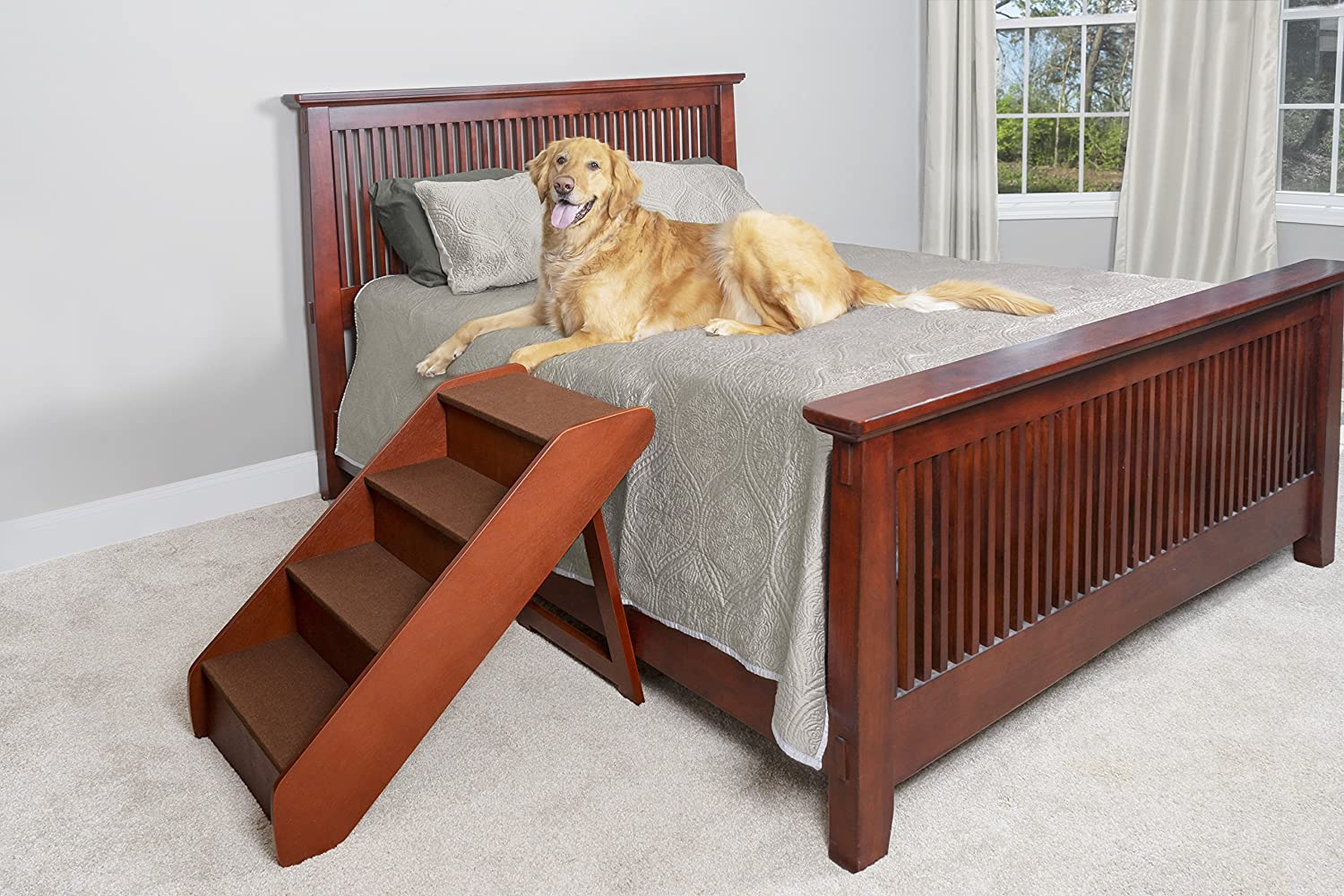 PetSafe CozyUp Folding Wood Pet Steps - PupSTEP Dog and Cat Stairs - Lightweight Durable Wooden Frame Supports up to 200 lb - Side Rails and Non-Slip Feet Provide Added Security - 25 inches : Pet Supplies