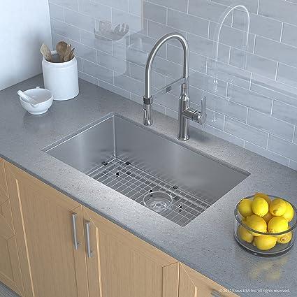 Kraus KHU100-30-1640-42CH Kitchen Sink and Faucet Combo Handmade ...