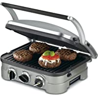 "Cuisinart GR-4N 5-in-1 Griddler, 13.5""(L) x 11.5""(W) x 7.12""(H), Silver with Silver/Black Dials"