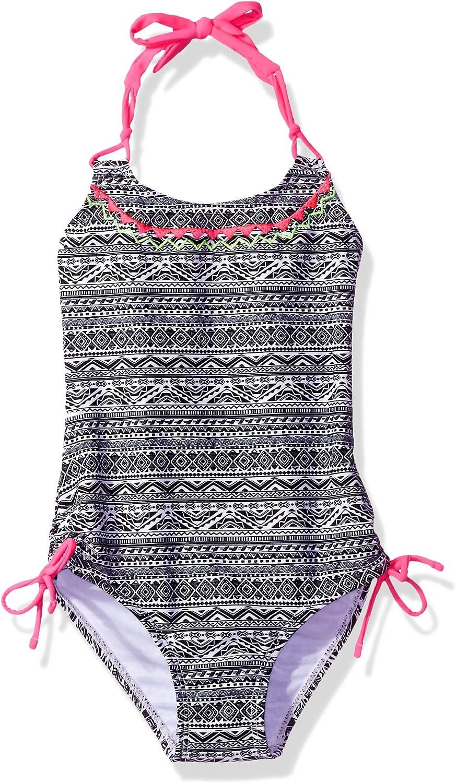 Breaking Waves Girls 1-Piece Swimsuit