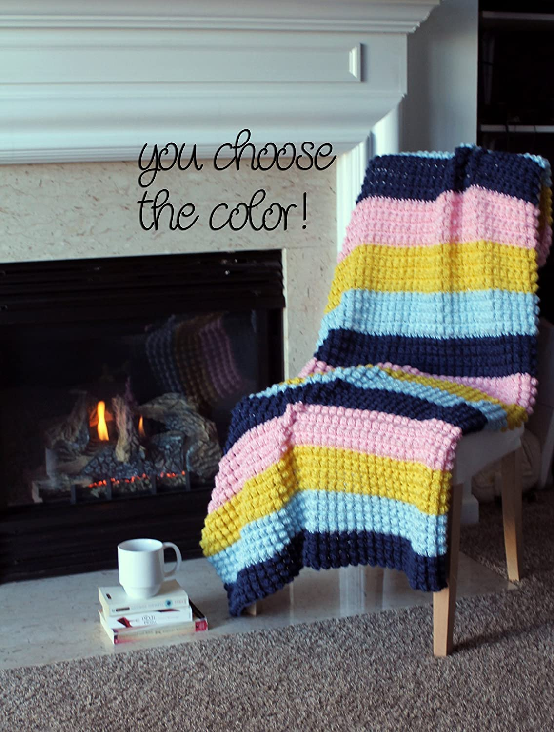 Image of Bobble Popcorn Afghan Throw Blanket Crochet - Striped Dark Blue, Light Blue, Yellow, Pink - Made To Order
