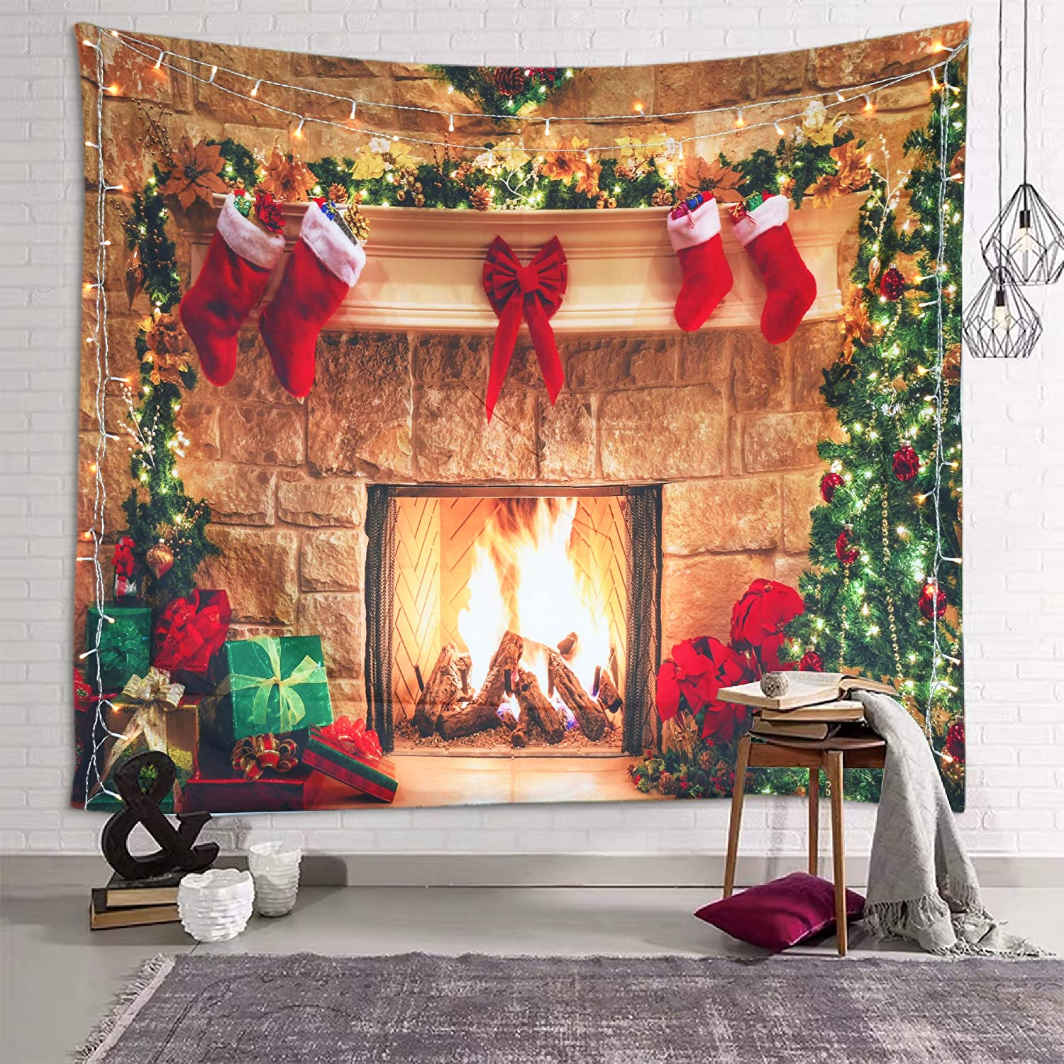 Sevendec Christmas Tapestry Wall Hanging Fireplace Xmas Tree Stockings Gifts Wall Tapestry for Party Livingroom Bedroom Dorm Home Decor W78 x L59
