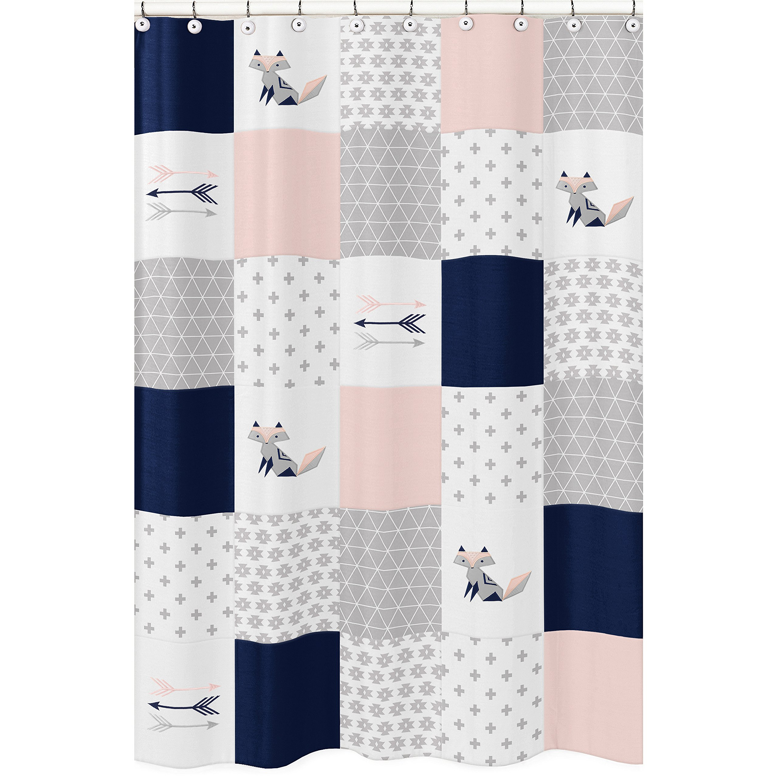 Sweet Jojo Designs Navy Blue, Pink, and Grey Patchwork Bathroom Fabric Bath Shower Curtain for Woodland Fox and Arrow Collection