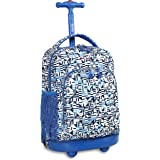 J World New York Sunny Rolling Backpack, Geo Blue, One Size