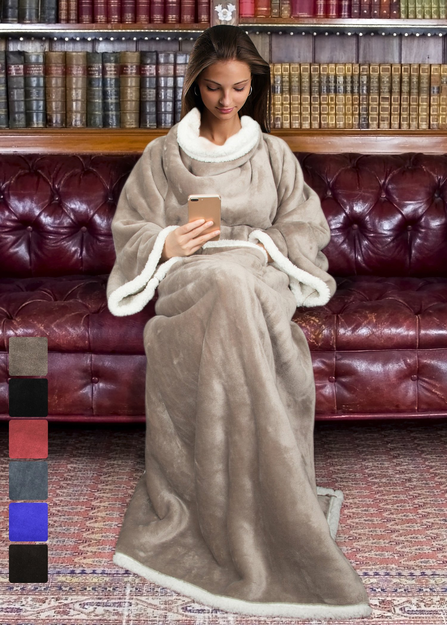 Terrania Sherpa Blanket with Sleeves for Women and Men, Super Soft Mink Fleece Wearable Adult Comfy Throw Robe TV Blanket 72'' x 55'' | Catalonia series by Camel