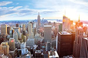 Poster – New York City Skyline – Picture Decoration Sunset Penthouse View Manhattan America Dusk USA Big Apple NYC Image Photo Decor Wall Mural (55 x 39.4in - 140x100cm)