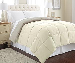 Amrapur Overseas Goose Down Alternative Microfiber Quilted Reversible Comforter/Duvet Insert Ultra Soft Hypoallergenic Bedding - Medium Warmth for All Seasons, Full/Queen, Ivory/Atmosphere