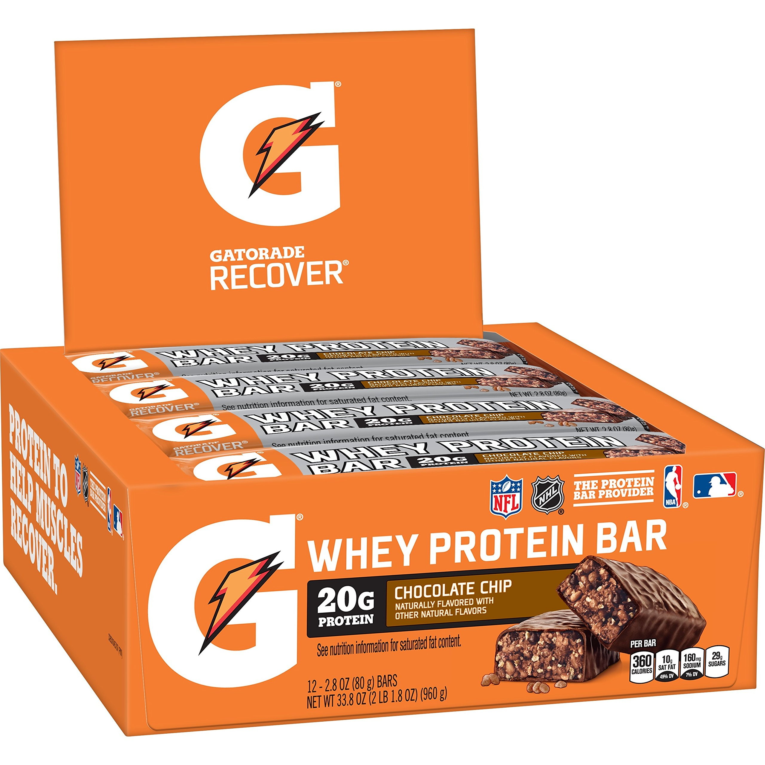 Gatorade Whey Protein Recover Bars, Chocolate Chip, 2.8 ounce bars (12 Count) by Gatorade