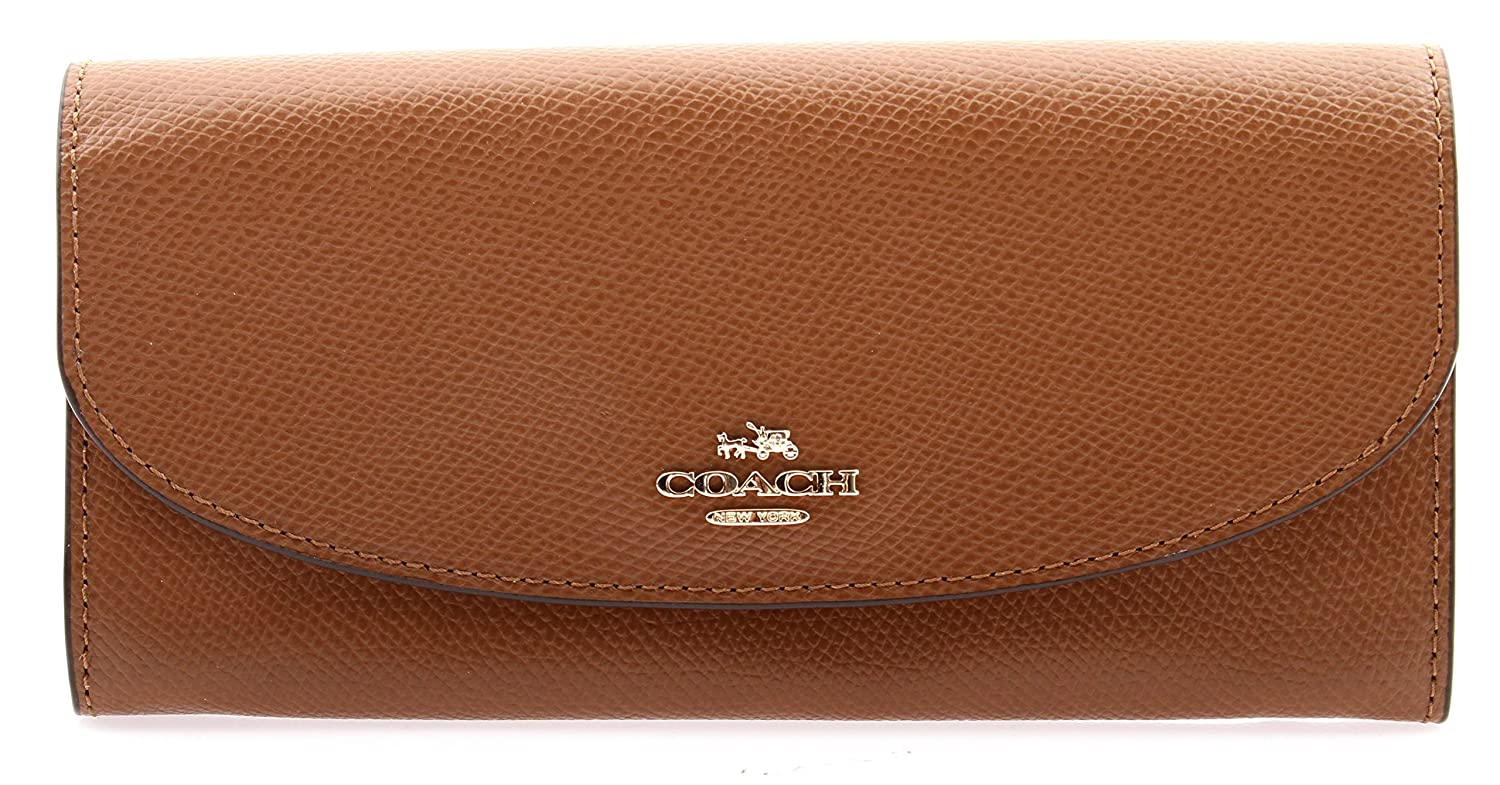 COACH leather slim envelope cellphone WALLET F54009 in Saddle