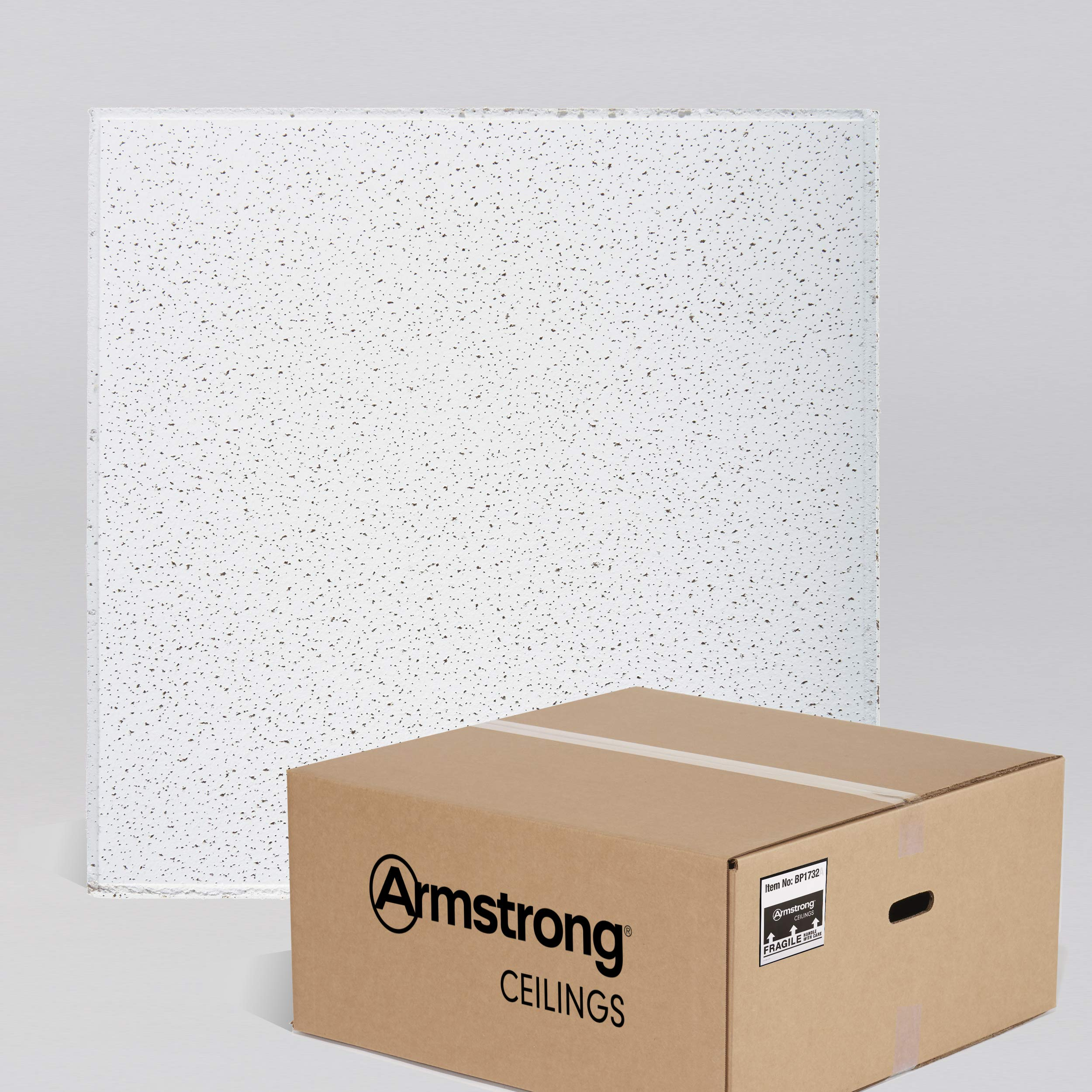 Armstrong Ceiling Tiles; 2x2 Ceiling Tiles - HUMIGUARD Plus Acoustic Ceilings for Suspended Ceiling Grid; Drop Ceiling Tiles Direct from the Manufacturer; FINE FISSURED Item 1732 - 16pc White Tegular by Armstrong