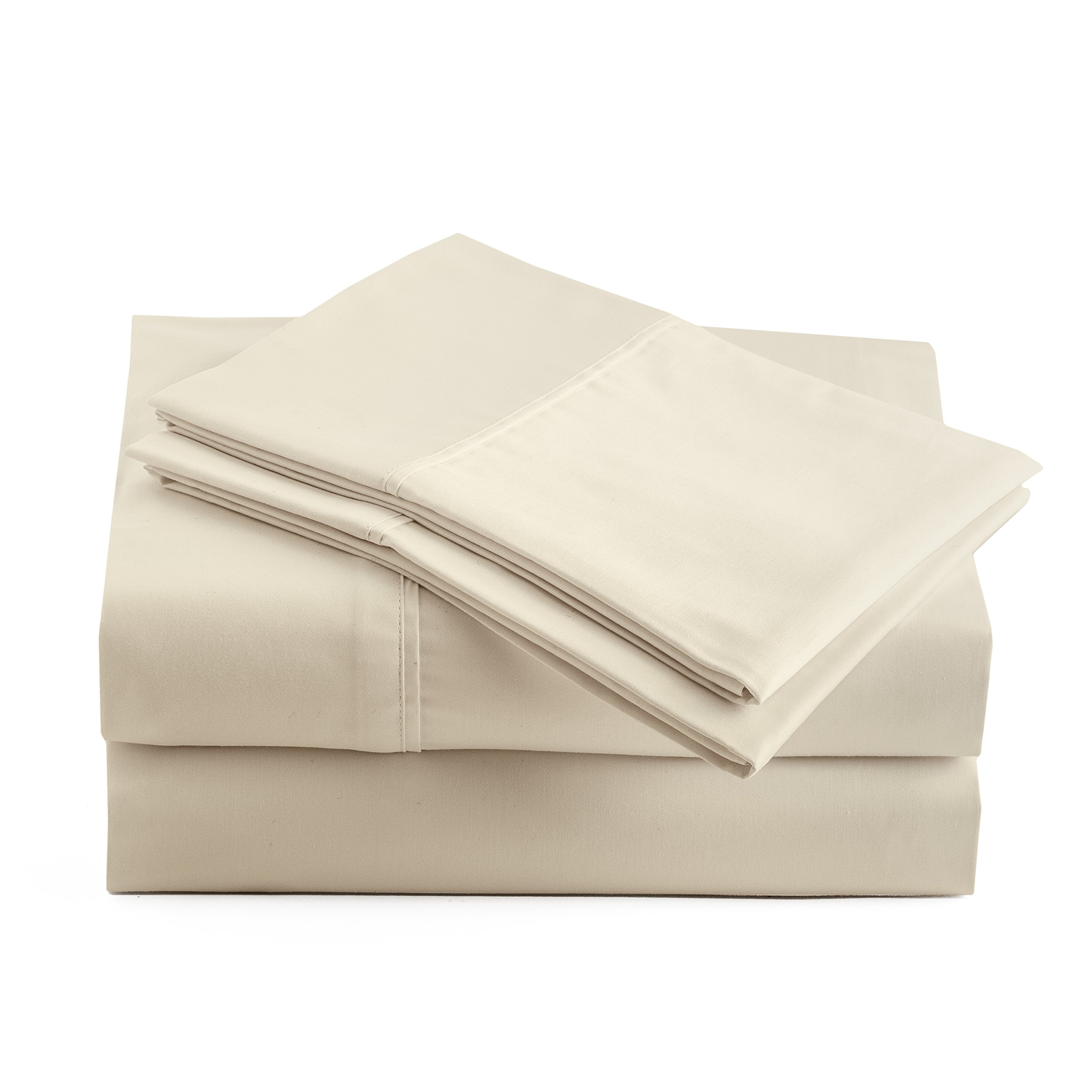 Peru Pima - 415 Thread Count - 100% Peruvian Pima Cotton - Percale - Bed Sheet Set (California King, Ivory)