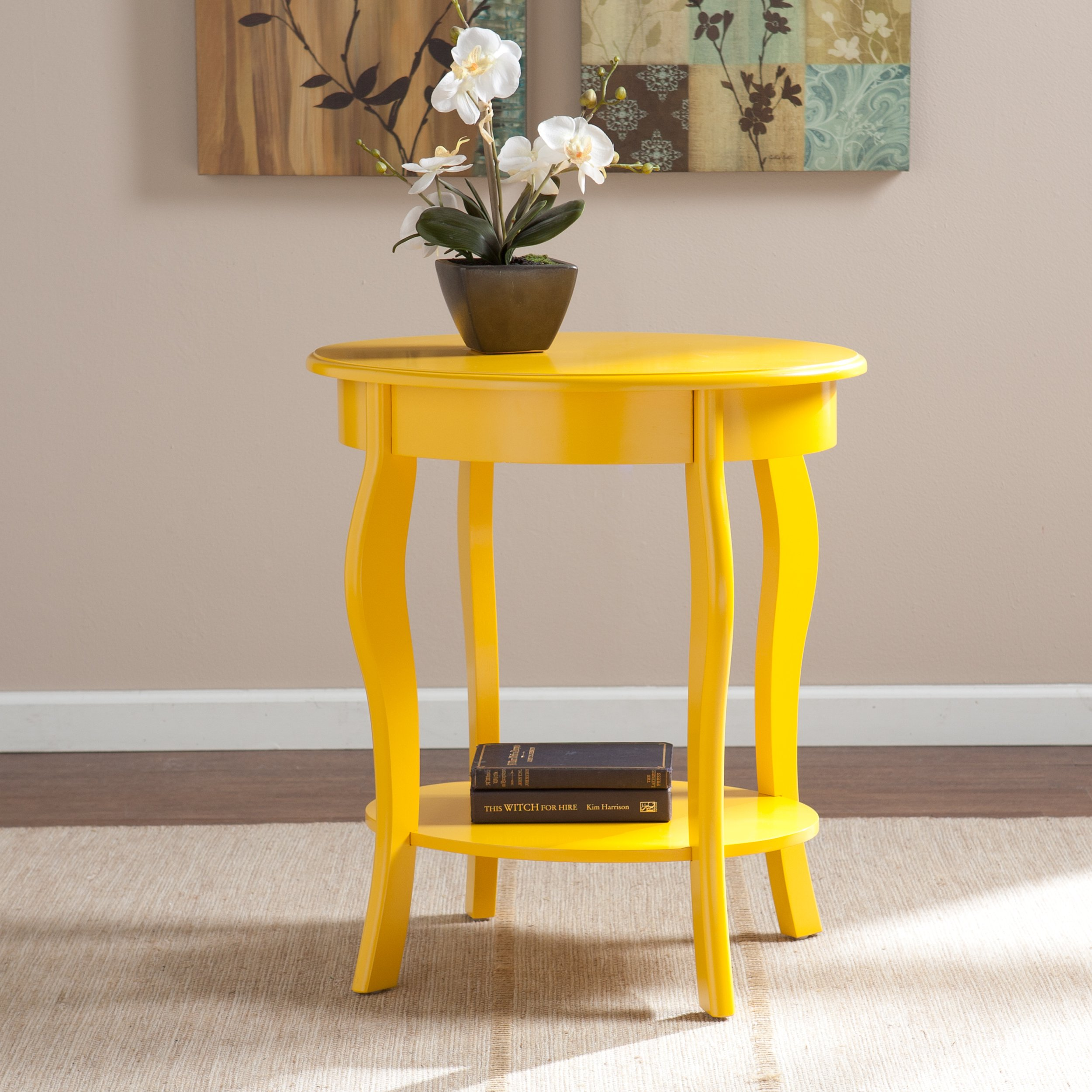 Southern Enterprises Watts Oval Accent Table - Yellow