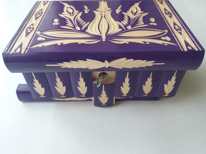 Nuevo gran caja puzzle de color púrpura rompecabezas de madera, caja secreta, caja mágica, la caja de almacenaje de la joyería, caja de madera, caja tallada, regalo para la hija hermana: Amazon.es: