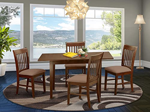 NOFK5-MAH-C 5 Pc Kitchen nook Dining set – Table with a 12in leaf and 4 Dining Chairs