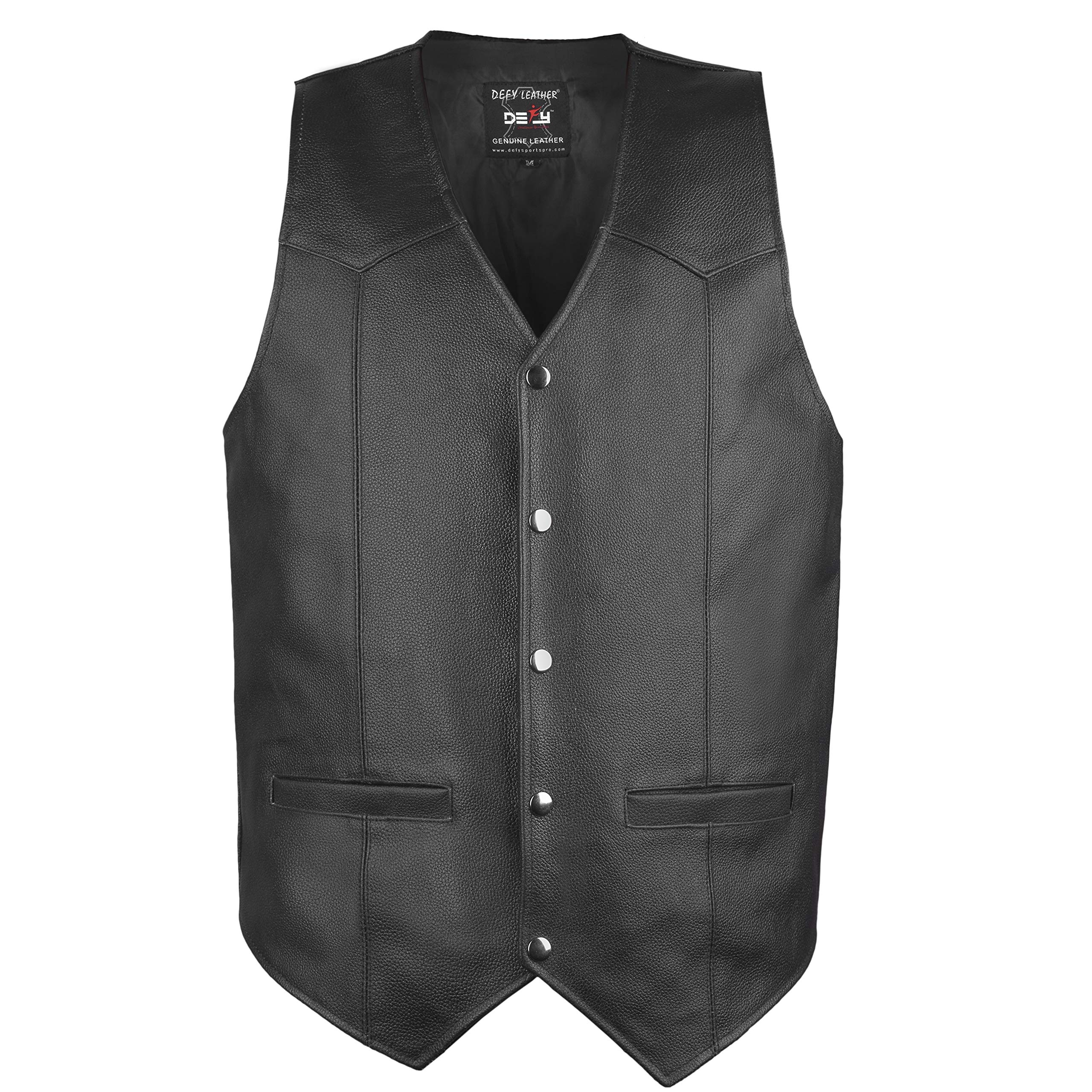 DEFY Men's Motorbike Vest Club Style Classic Genuine Leather Vest with Gun Pockets Full Solid Back (Large)