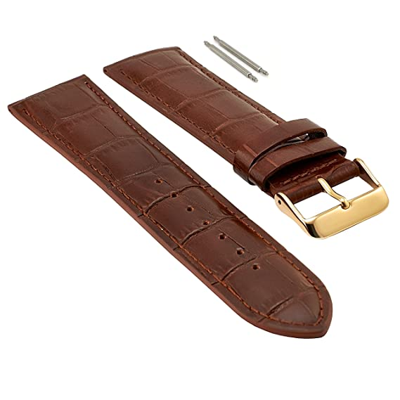 32bf46eee 20mm Brown Leather Watch Band for Men, Gold Buckle, Leather Watch Bands for  Men, Genuine Leather Watch Strap, Extra Long XL, Crocodile Print Leather,  ...