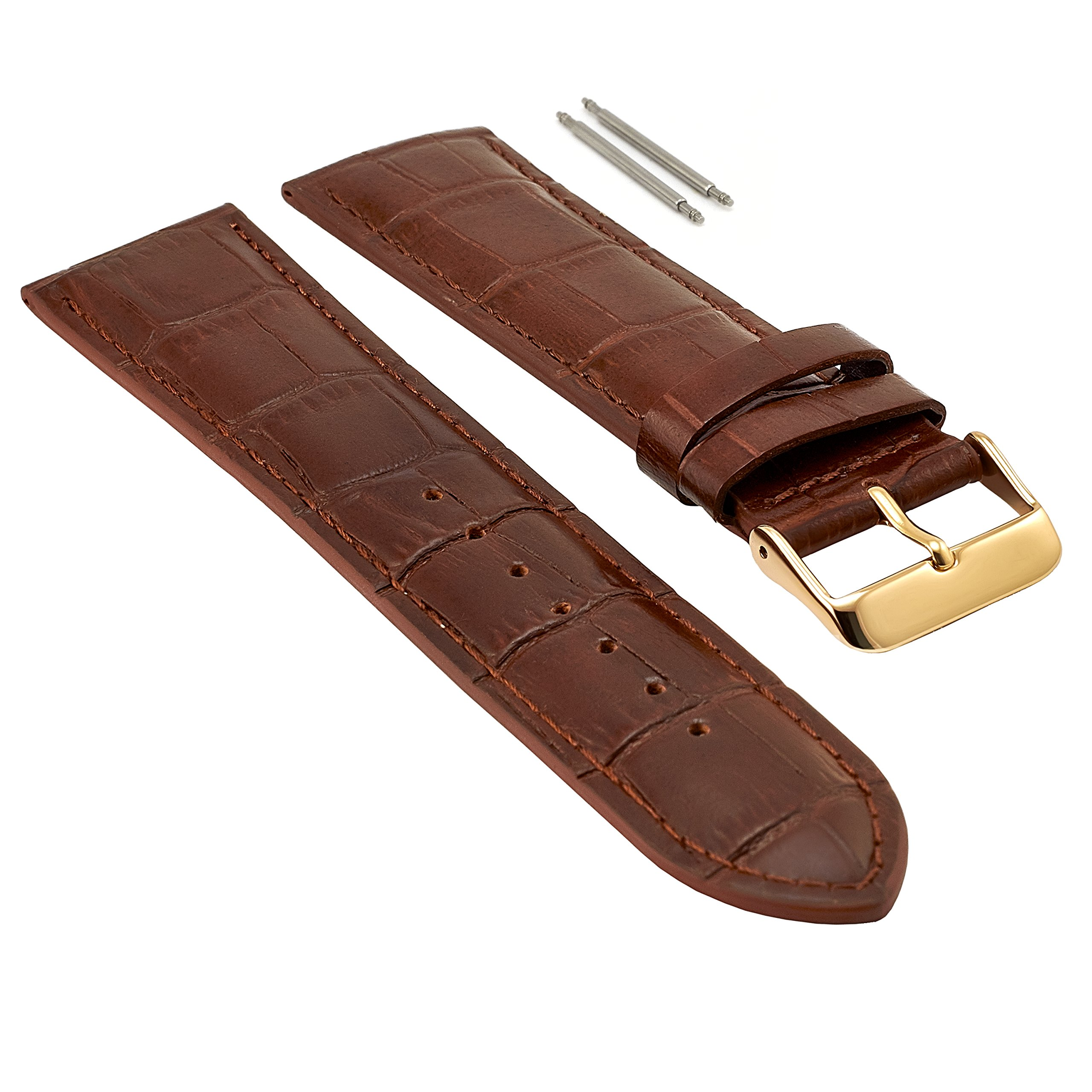 Mens Brown Genuine Leather Watch Strap - Size 24MM Gold Buckle, Extra Long XL Length, Crocodile Print Leather with 2 Free Pins