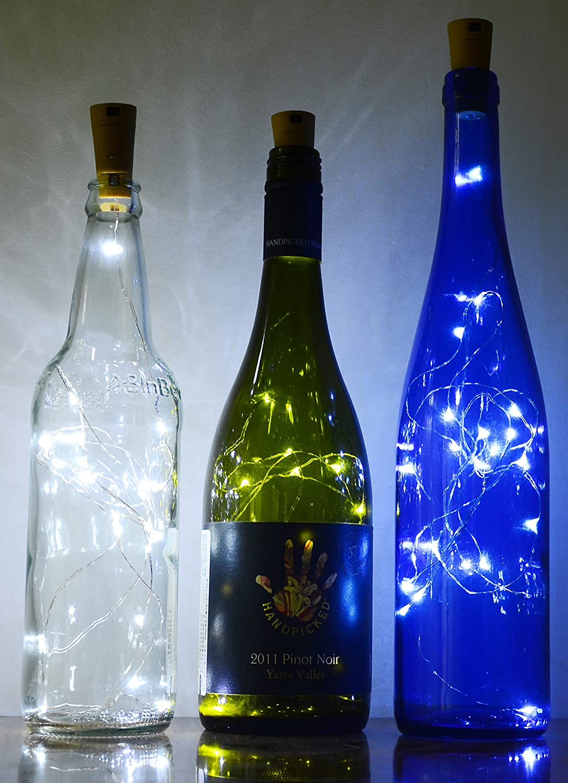 AnSaw Spark I Wine Bottle Lights, Starry Bottle Lamp Kit, Cork Shape  Striping Lights, 20-MicroLED, Copper Wire, Battery Light, Rope Lamp, 3 Pack  (White ) ...