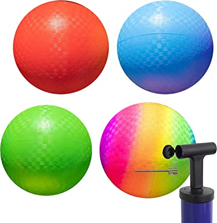 Best Bouncy Dodge Ball Kickball Four Square for Boys Girls Adults Exercise Yoga Balls Workout Therapy Fitness Pilates Balance Handball Pump Premium Playground Balls 13 inch Pack of 2