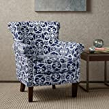 Accent Armchair with Geometric Pattern, Fabric Upholstered and Nailhead Trim, Contemporary Arm Club Chair (Navy/White)