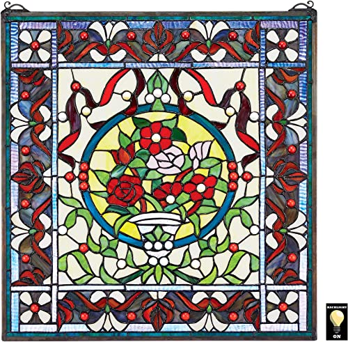 Design Toscano Panier des Fleurs Stained Glass Window