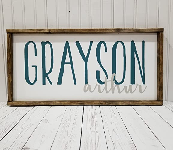 amazon com nursery name sign first and middle names boy or girl