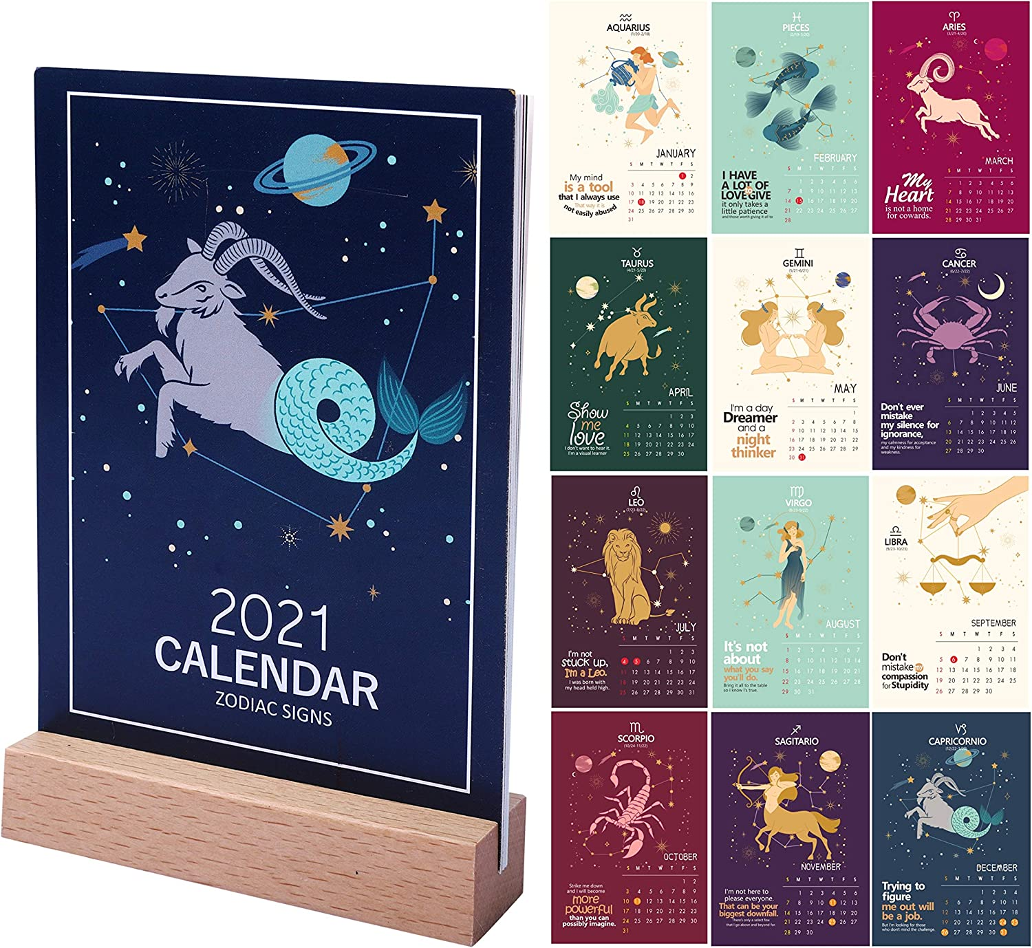 2021 Desk Calendar, 4 x 6 Inch Small Mini Desktop Calendar, odiac Calendar with Wood Stan, Monthly Calendar with Easel Stand, Gift for Her, Colorful Home Office Decor