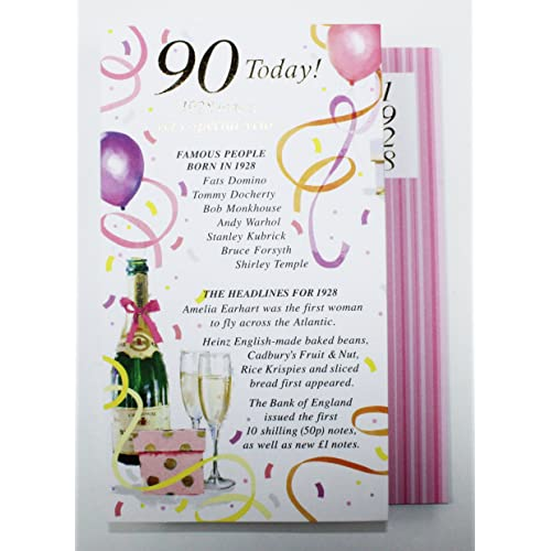 90 Today 1928 Special Year Born Happy Birthday Card Facts Quality Her Verse