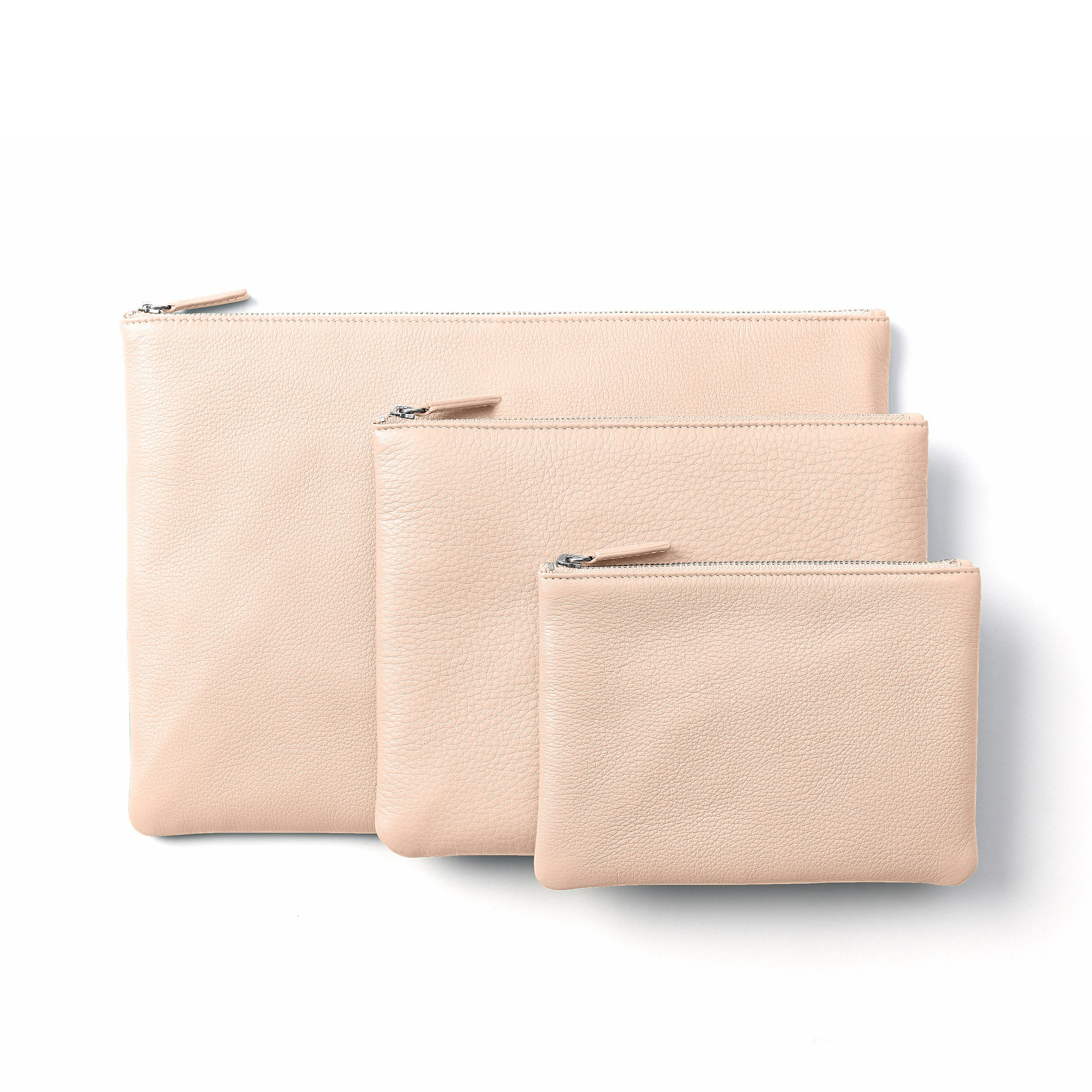 Zippered Pouches - Full Grain Leather Leather - Rose (pink)