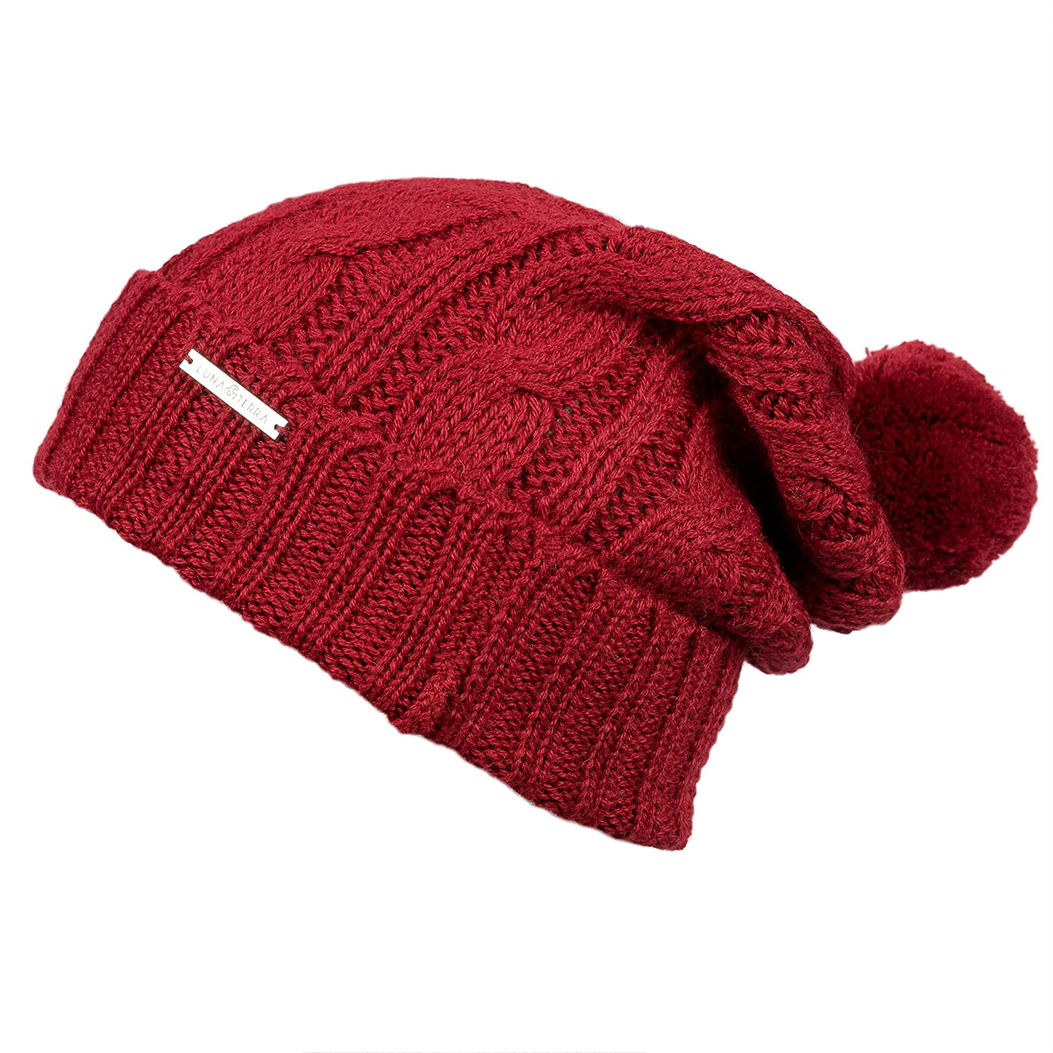 LUNA & TERRA  MESSINA Hat Beanie Hand Knitted 100% BABY ALPACA (Imperial Red)