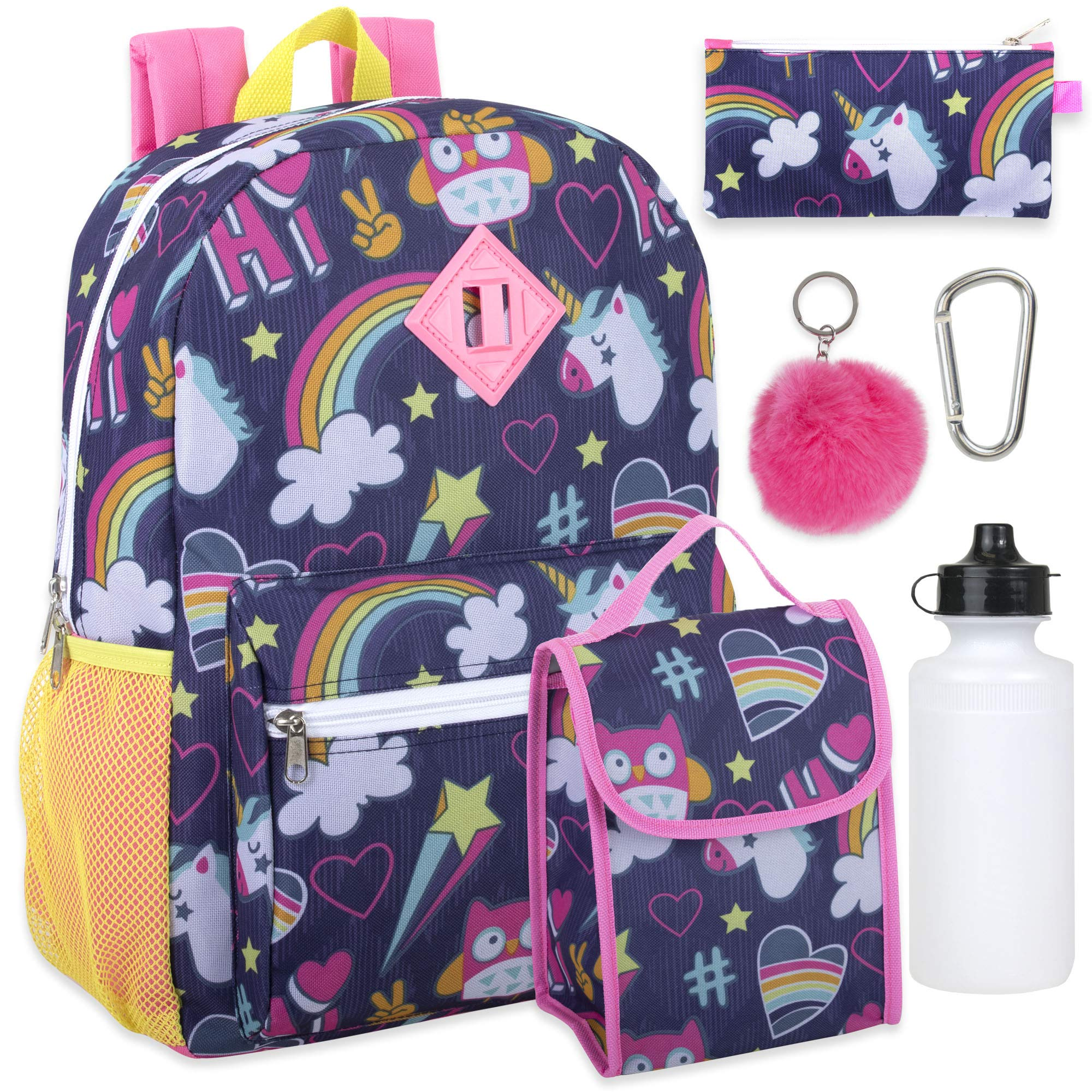 Girl's 6 in 1 Backpack Set With Lunch Bag, Pencil Case, Bottle, Keychain, Clip (Unicorn clouds) by Trail maker