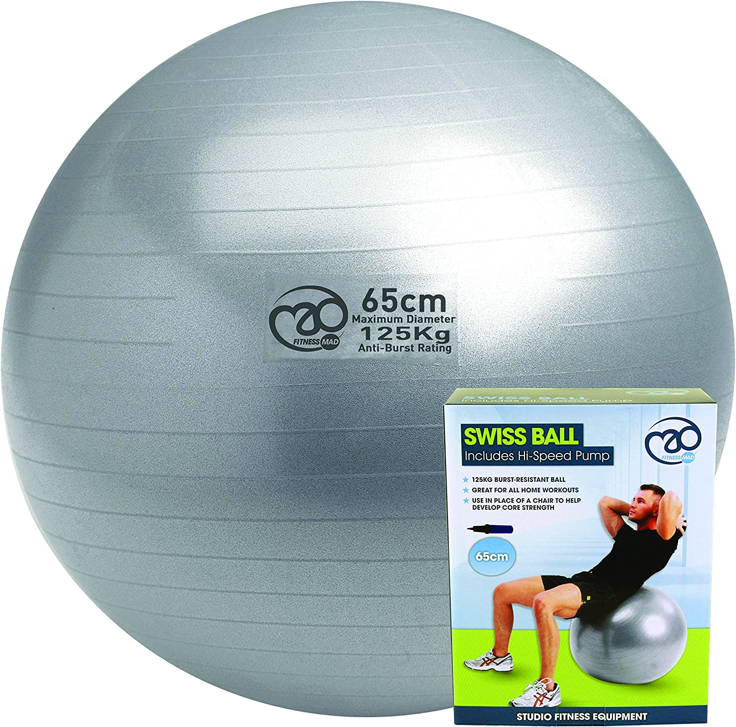 Pilates-Mad FBALL100 Yoga Ejercicio Swiss Fitness Ball, Unisex ...